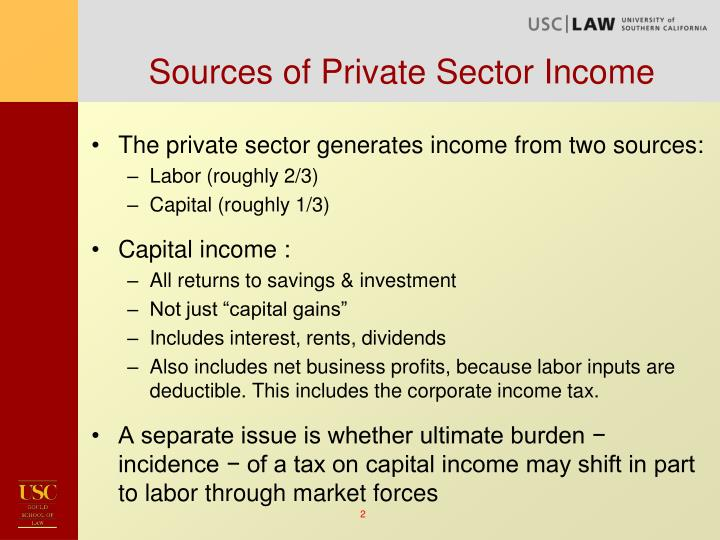 Sources of private sector income