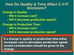 how do quality time affect c v p decisions