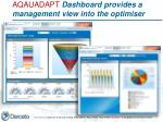 aqauadapt dashboard provides a management view into the optimiser