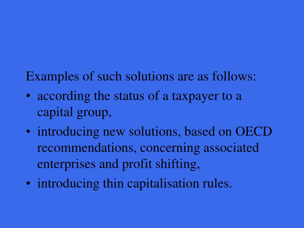 Examples of such solutions are as follows: