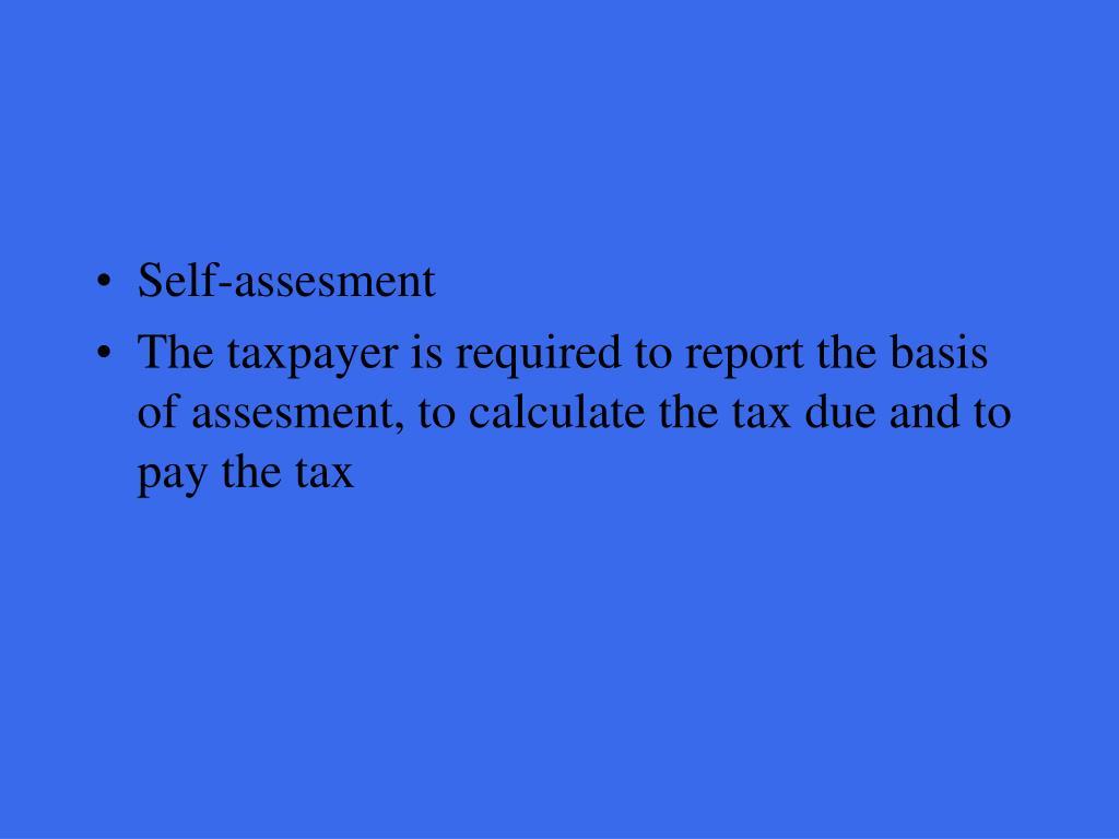 Self-assesment