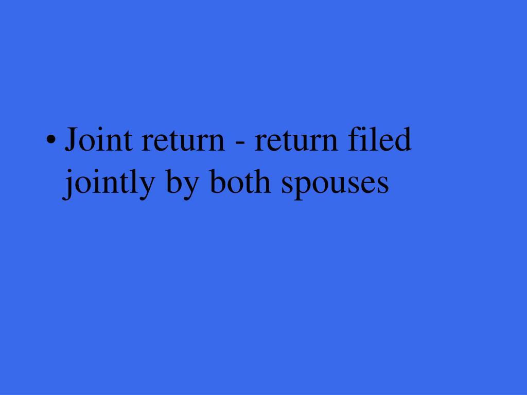 Joint return - return