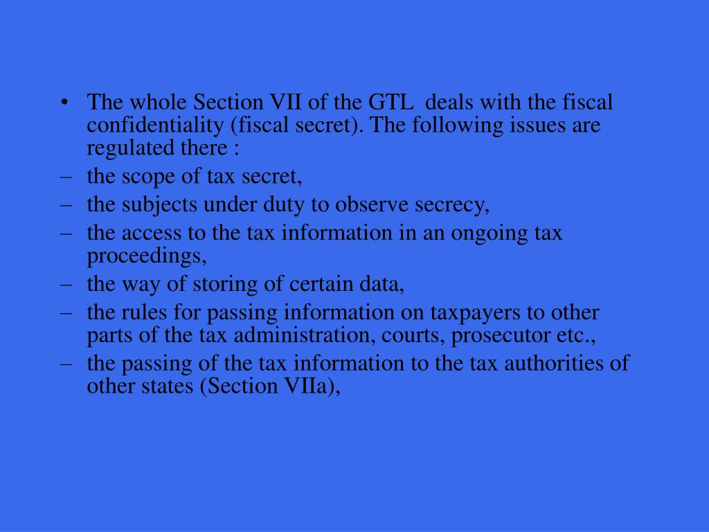 The whole Section VII of the GTL  deals with the