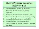 bush s proposed economic recovery plan