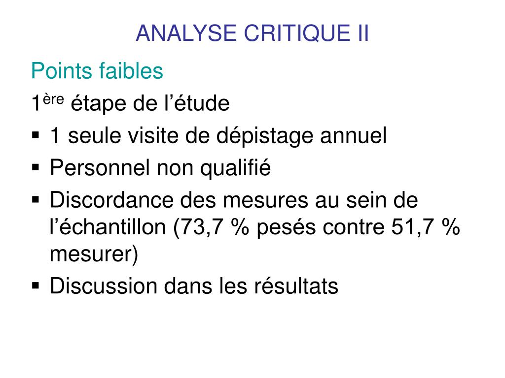 ANALYSE CRITIQUE II