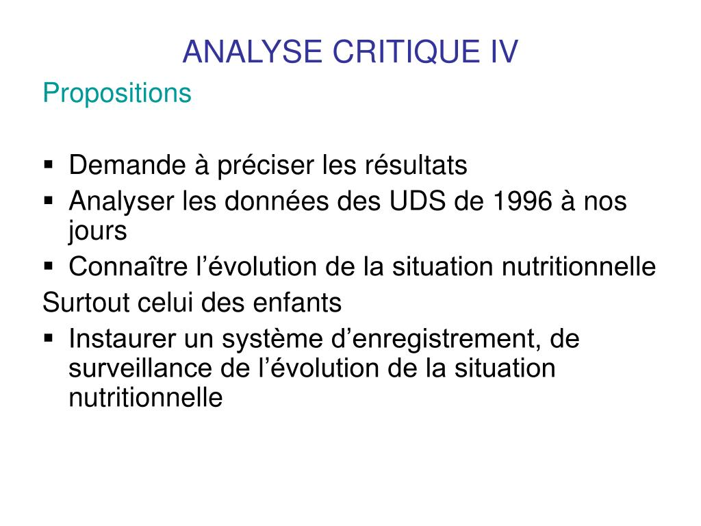 ANALYSE CRITIQUE IV