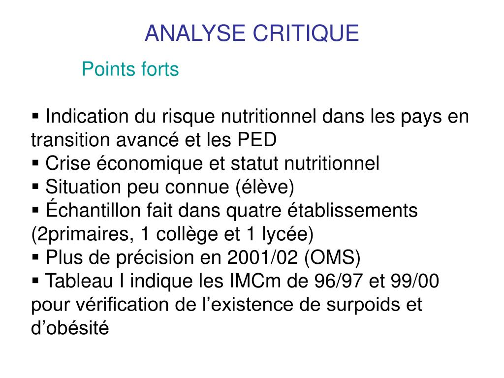 ANALYSE CRITIQUE