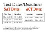 test dates deadlines