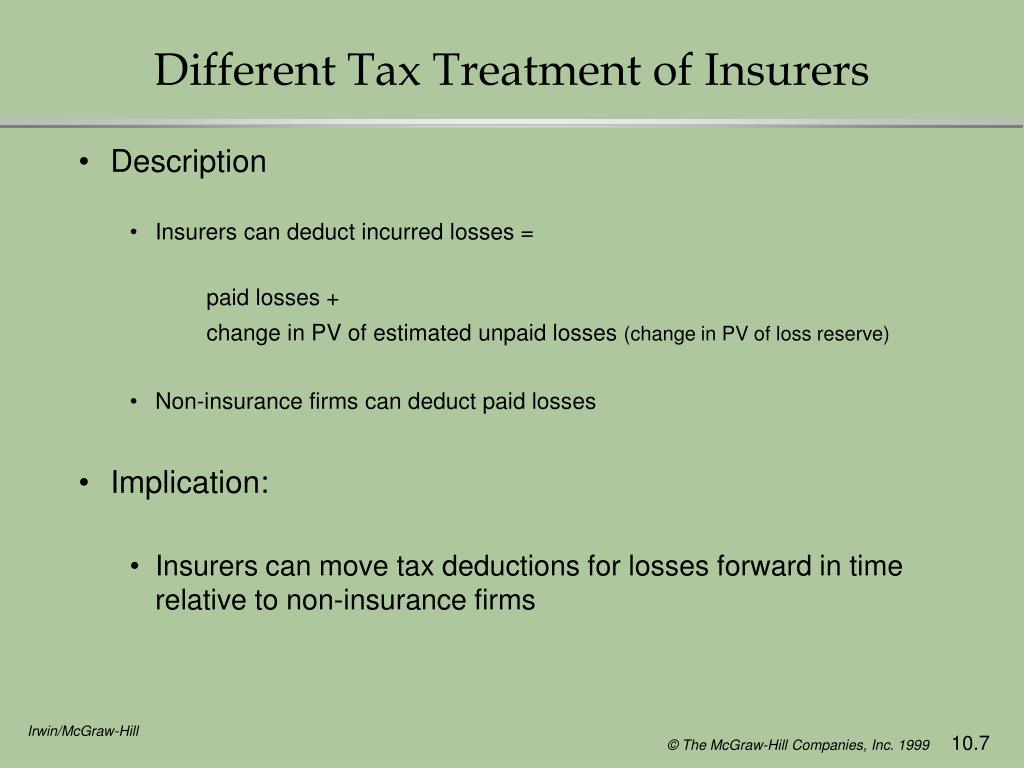 Different Tax Treatment of Insurers