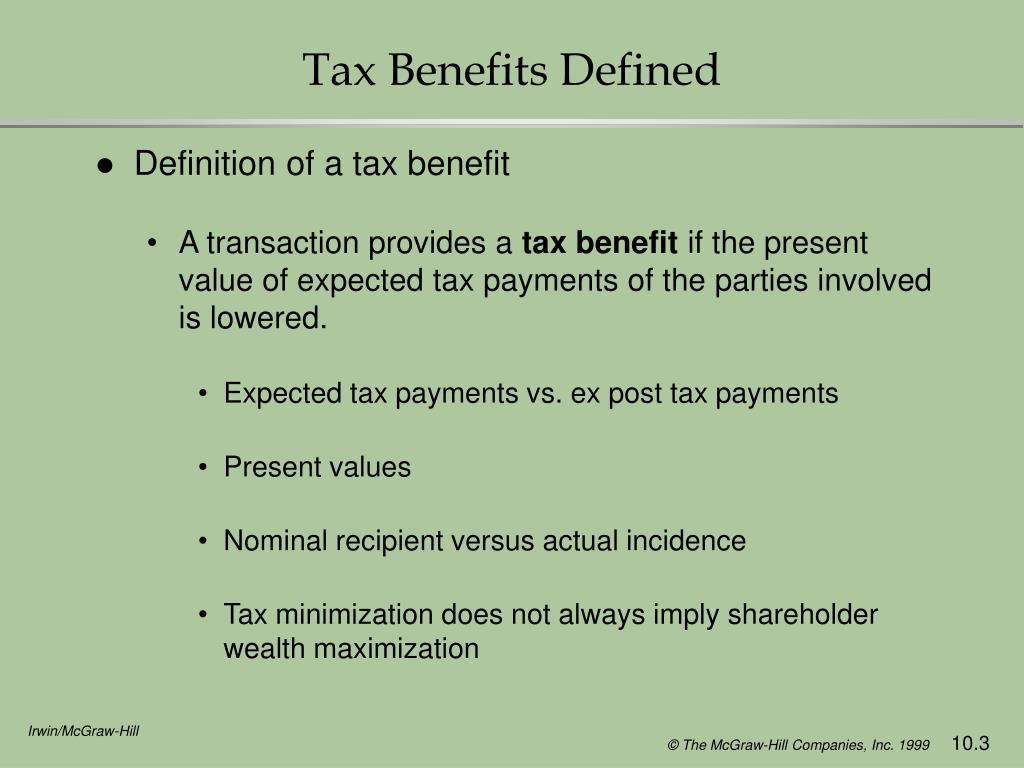 Tax Benefits Defined