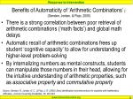benefits of automaticity of arithmetic combinations gersten jordan flojo 2005