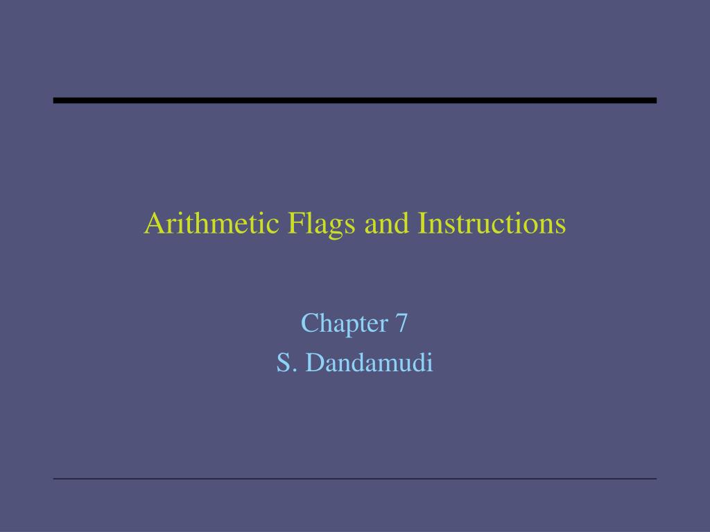 arithmetic flags and instructions l.