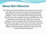 about bert mancino