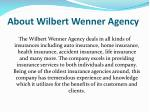 about wilbert wenner agency