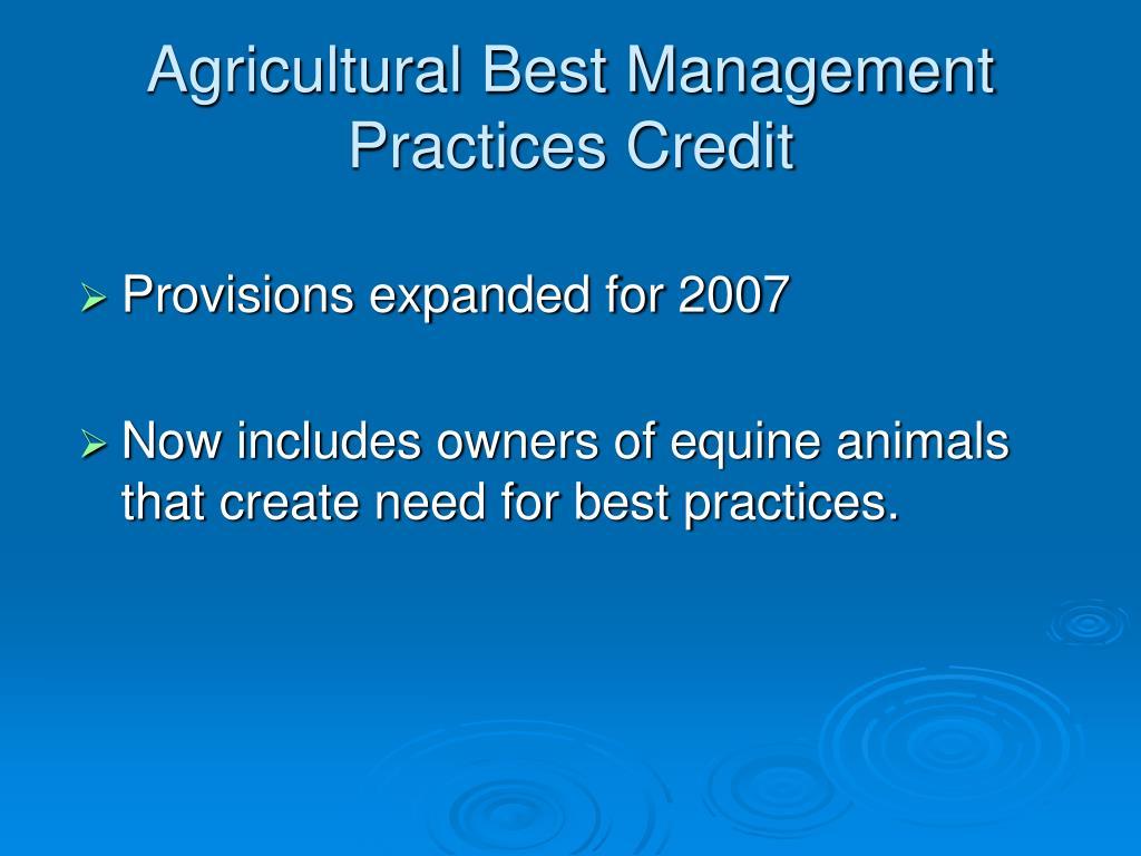 Agricultural Best Management Practices Credit