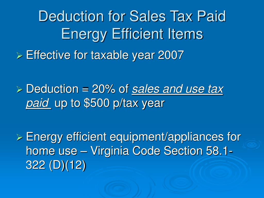 Deduction for Sales Tax Paid