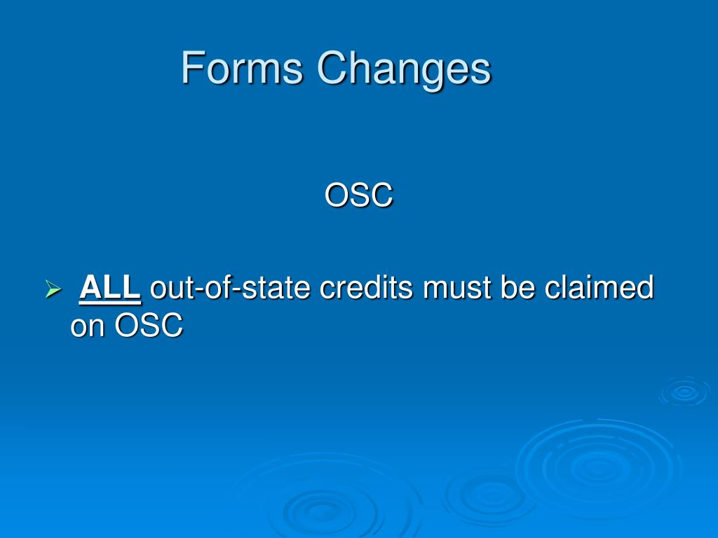Forms Changes