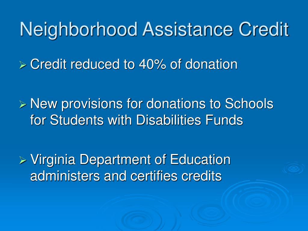 Neighborhood Assistance Credit