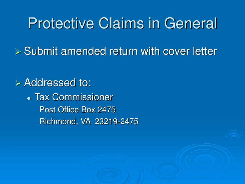 Protective Claims in General