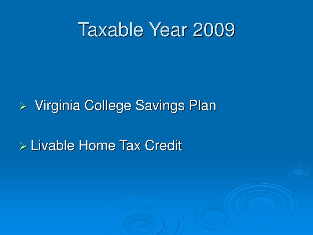 Taxable Year 2009
