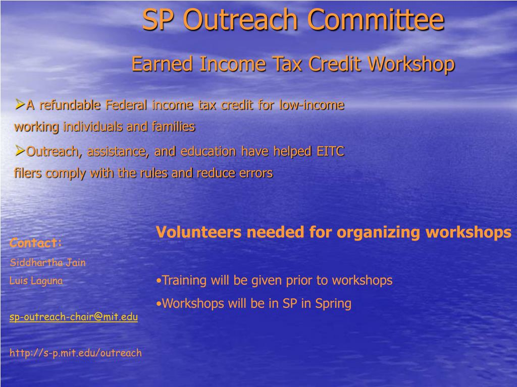 sp outreach committee earned income tax credit workshop l.