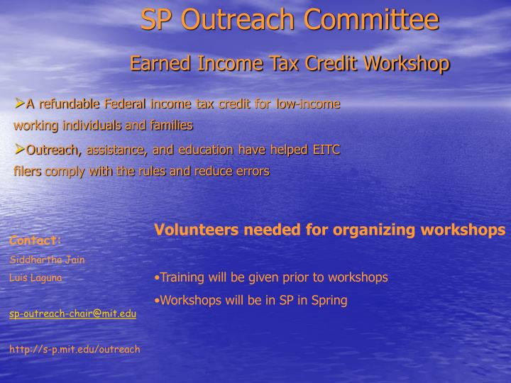 Sp outreach committee earned income tax credit workshop