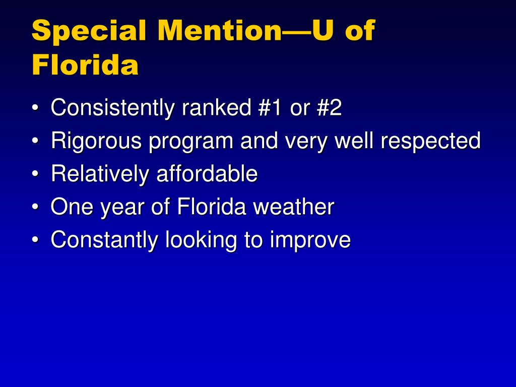 Special Mention—U of Florida