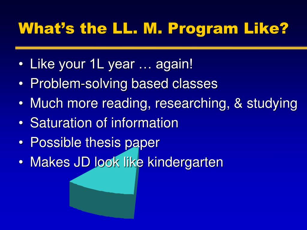 What's the LL. M. Program Like?
