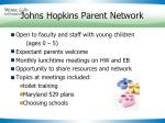 johns hopkins parent network