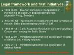 legal framework and first initiatives