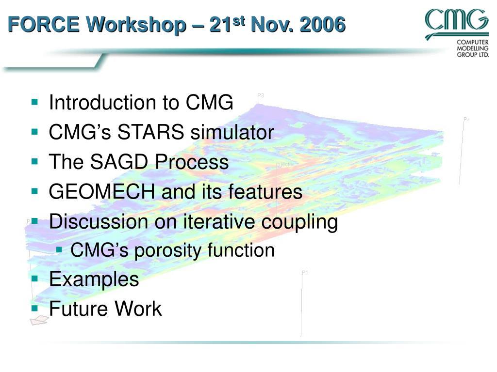 force workshop 21 st nov 2006 l.