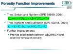 porosity function improvements