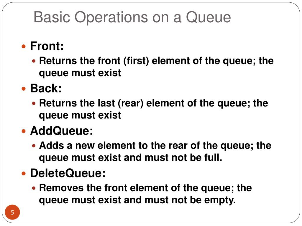 Basic Operations on a Queue