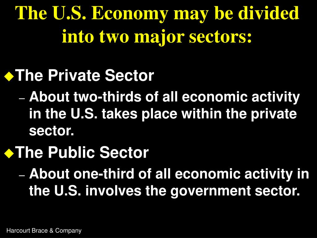 The U.S. Economy may be divided into two major sectors: