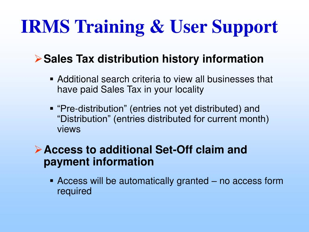 Sales Tax distribution history information