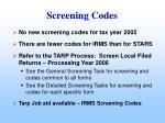 screening codes