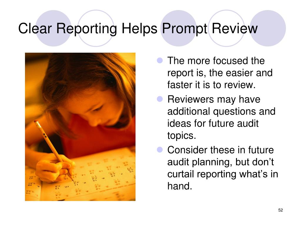 Clear Reporting Helps Prompt Review