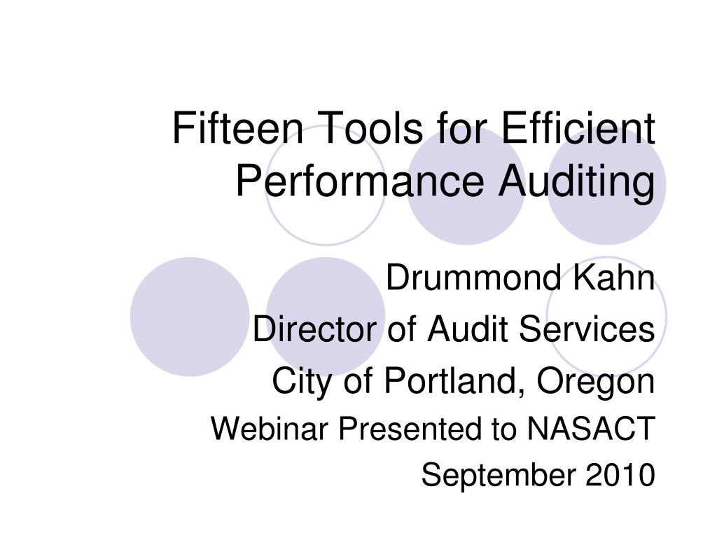 fifteen tools for efficient performance auditing l.