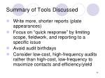 summary of tools discussed66