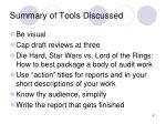 summary of tools discussed67