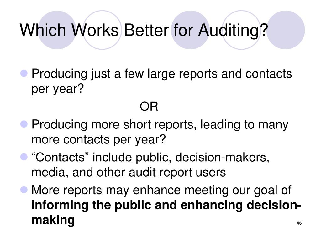 Which Works Better for Auditing?