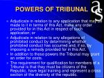 powers of tribunal