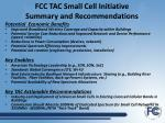 fcc tac small cell initiative summary and recommendations