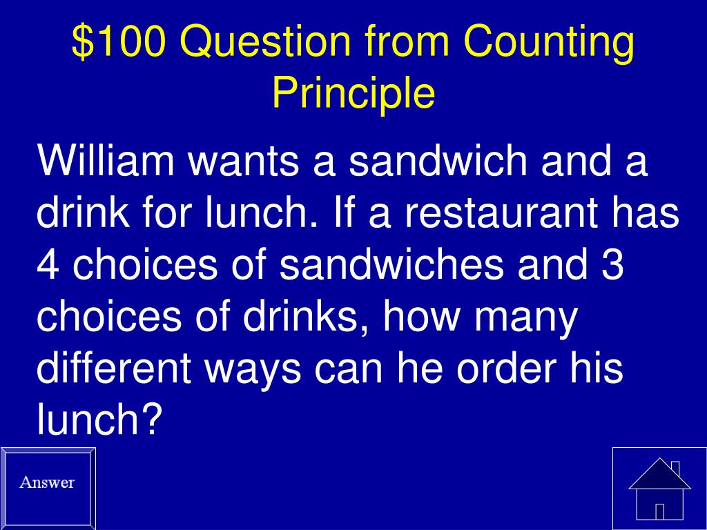 $100 Question from Counting Principle