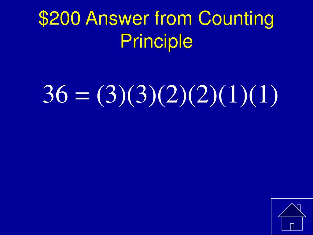 $200 Answer from Counting Principle