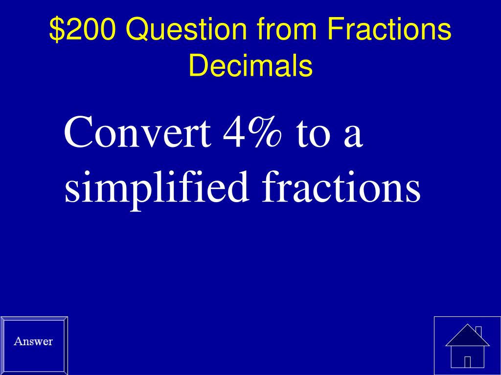 $200 Question from Fractions Decimals