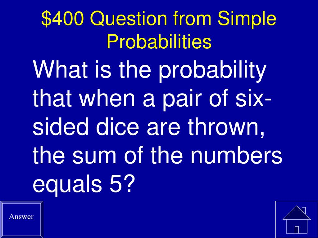 $400 Question from Simple Probabilities
