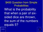 400 question from simple probabilities