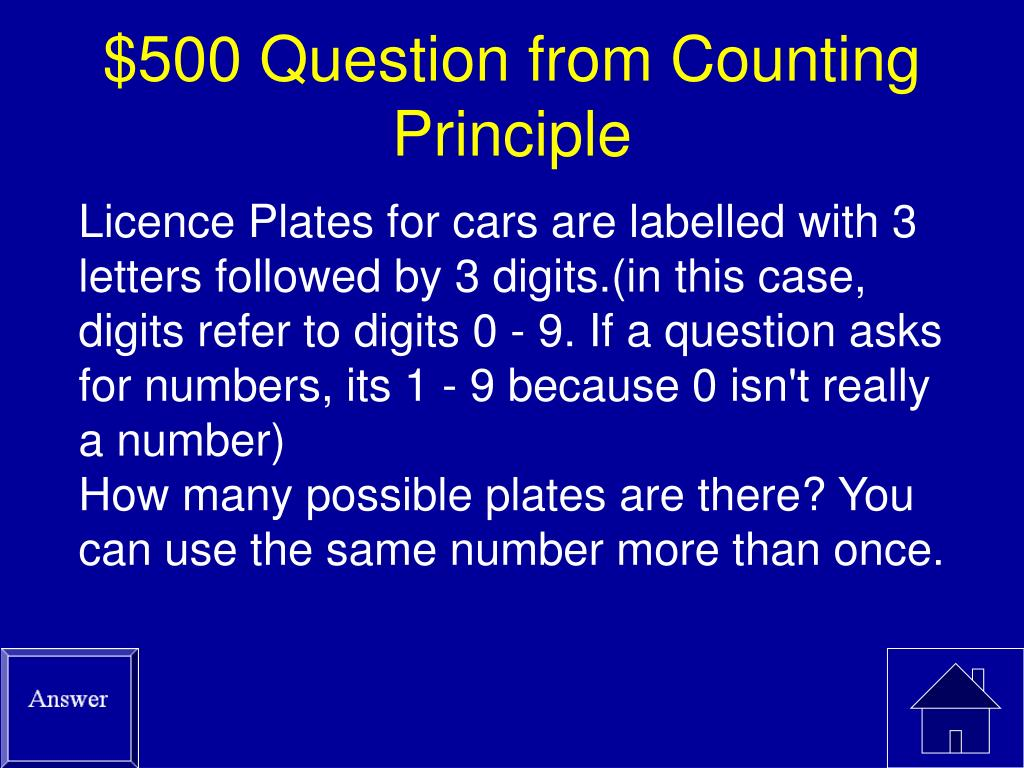 $500 Question from Counting Principle
