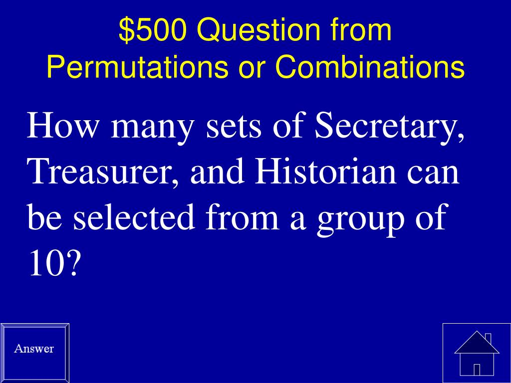 $500 Question from Permutations or Combinations